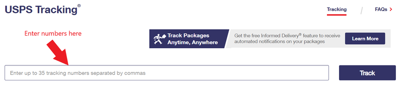 Image of the text box where you enter USPS tracking numbers.