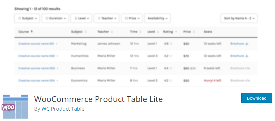 Quality WooCommerce product table alternative