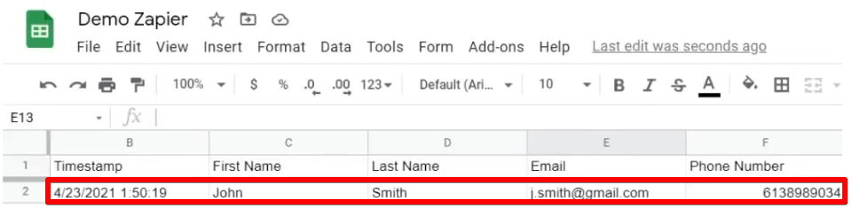 Form value from the worksheet transferred to the Demo Zapier spreadsheet