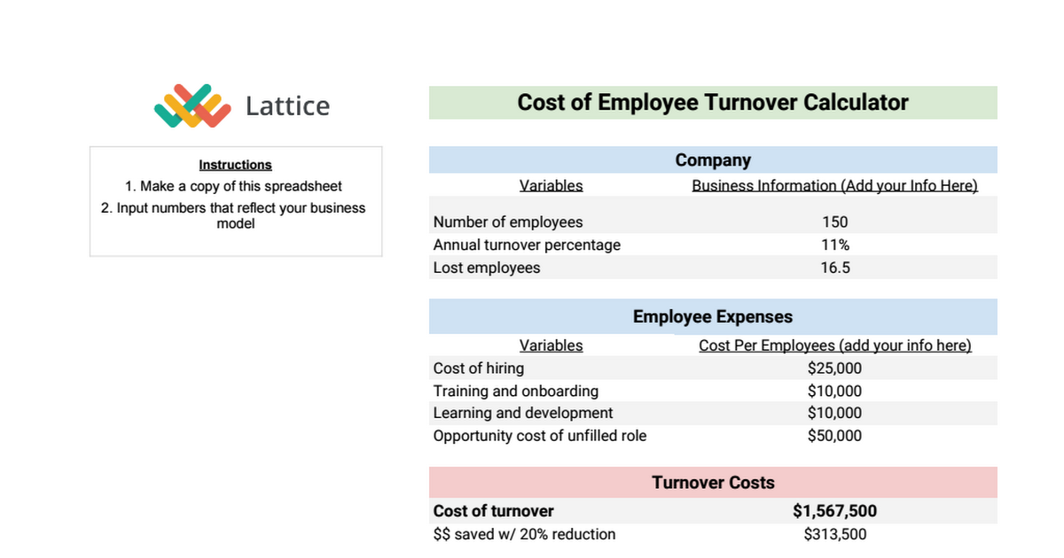 employee turnover calculator google sheets