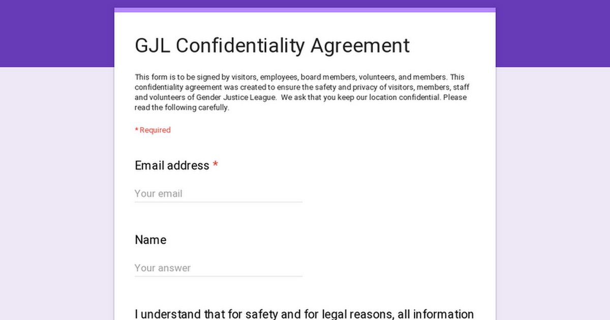 Gjl Confidentiality Agreement