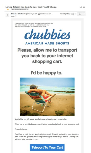 An example of Chubbies remarketing campaign email
