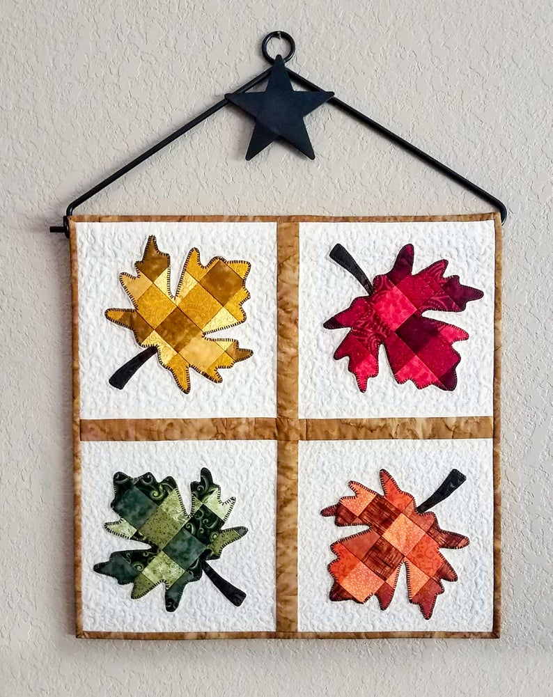 Tessellating Autumn Leaves quilt pattern