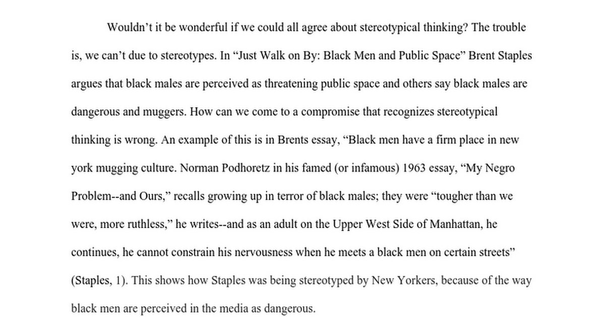 stereotypical thinking of black men google docs