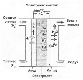Принципиальная схема топливного элемента. Возобновляемая энергетика