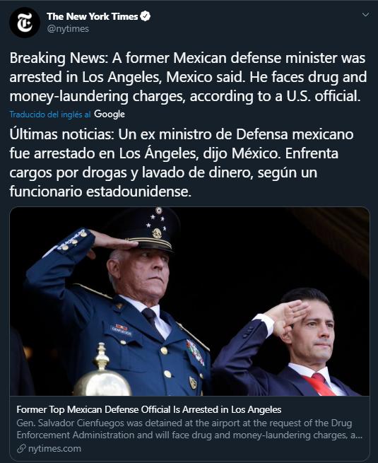 Imagen: Twitter de la confirmación de la detención de Salvador Cienfuegos