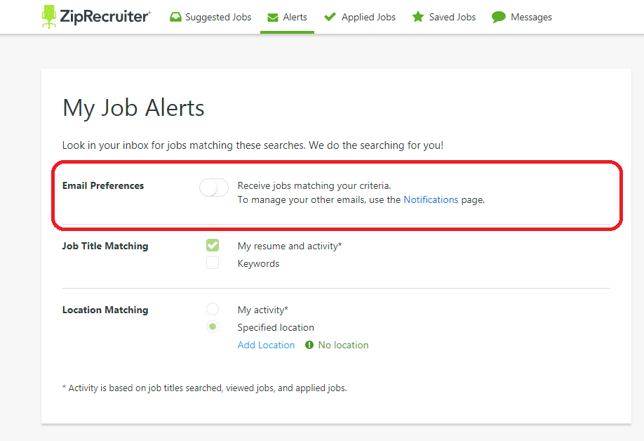 in the job title matching section click on the checkbox to indicate whether you would like to receive alerts based on your resume and activity keywords - How To Do A Resume For A Job