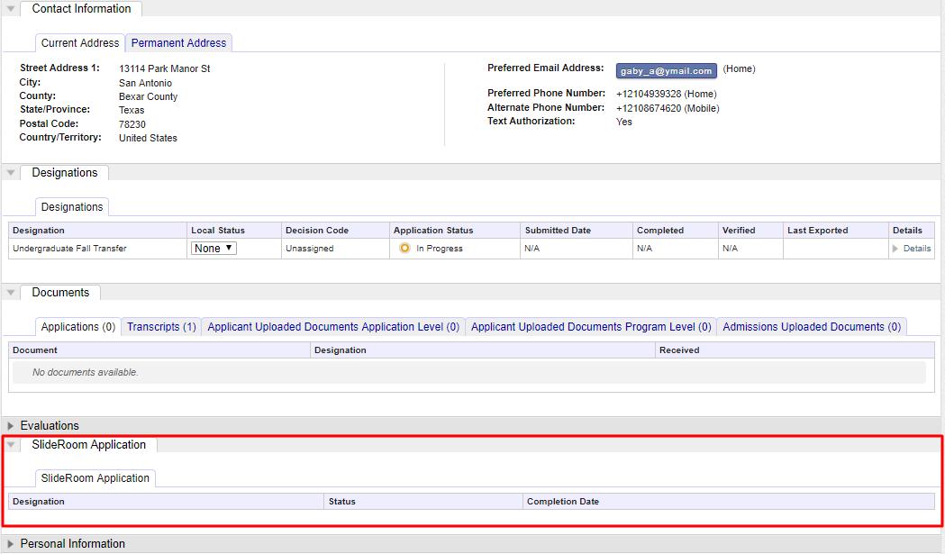 SlideRoom integration with Common App for Transfer