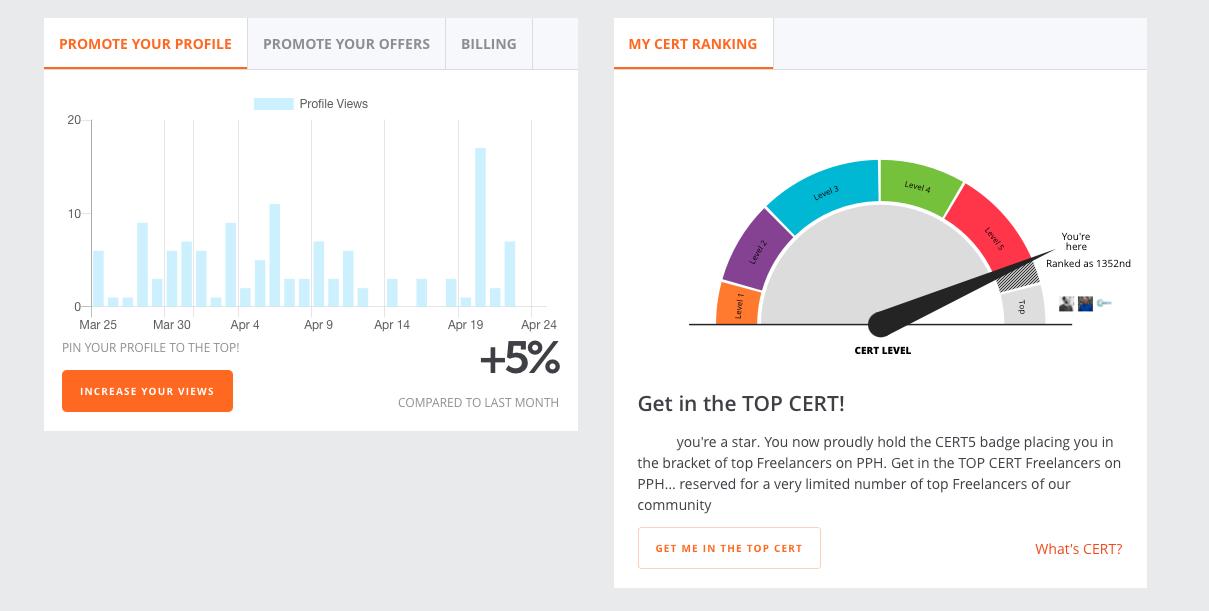 Screenshot of PeoplePerHour CERT rating system