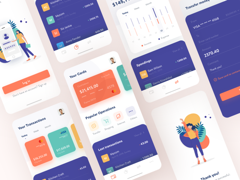 Banking App Concept financial app transaction banking app bank app illustration minimal design clean ux ui