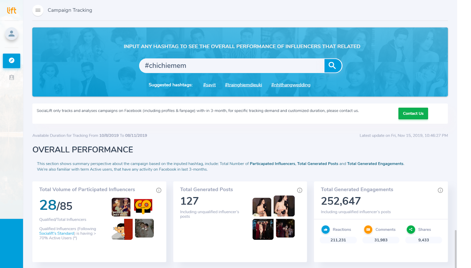 Tính năng Campaign Tracking trên SociaLift.asia