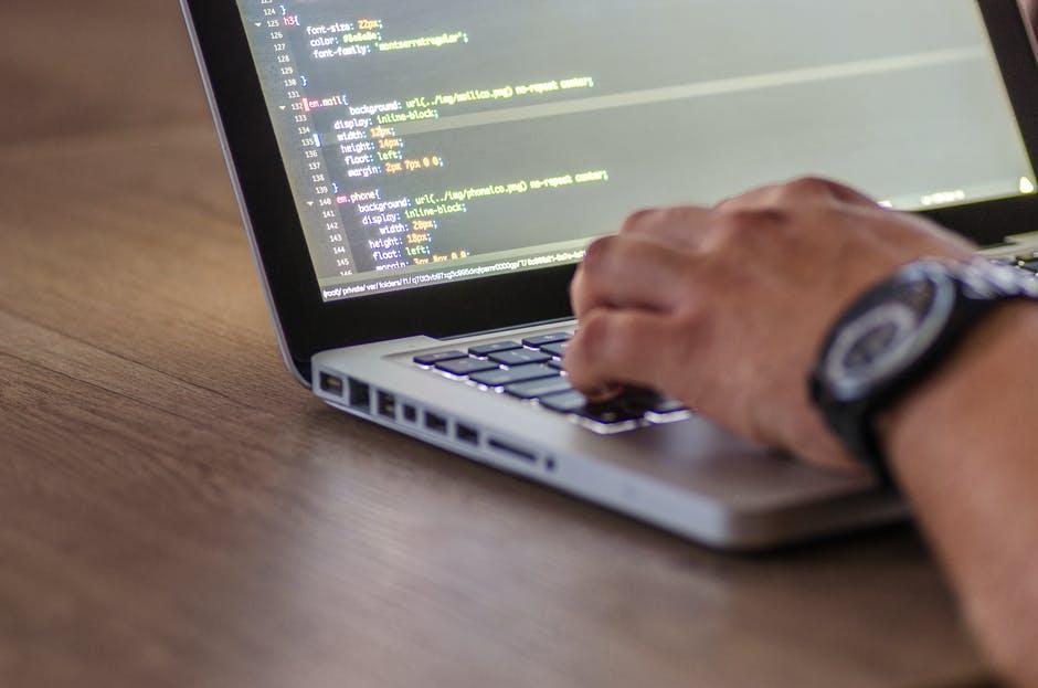 .NET Developer coding on his laptop