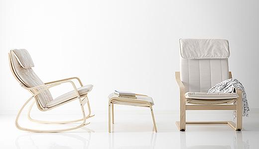IKEA POÄNG rocking chair and footstool