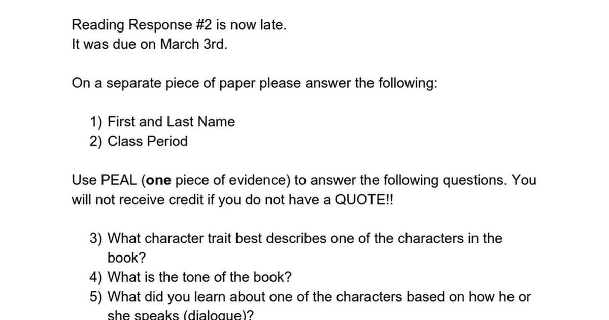 reading response paper Tips on writing a good response paper good response papers will help you become a better reader • when you're doing the reading.