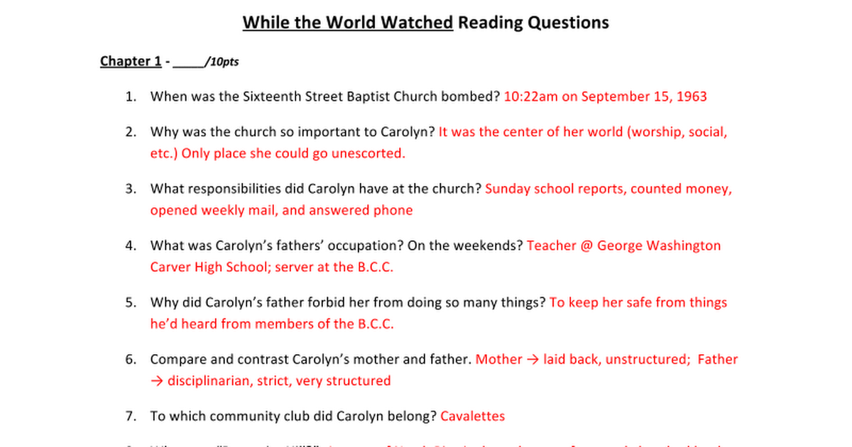 While the World Watched Reading Questionsdocx Google Docs – Jim Crow Laws Worksheet