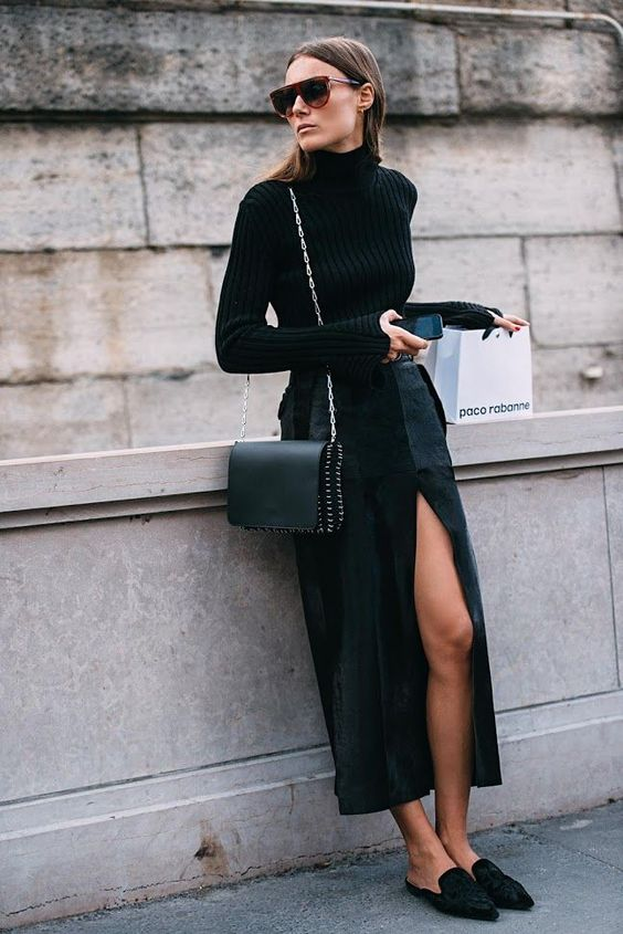 woman wearing an all-black outfit