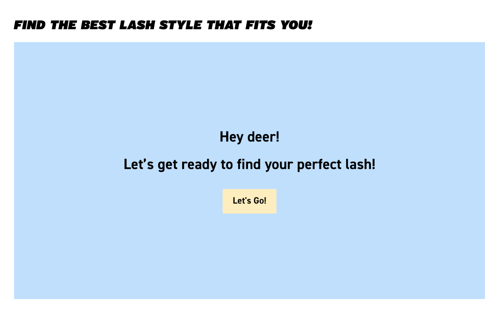 Doe lashes start quiz screen