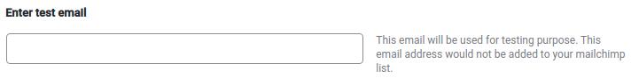Enter test email, MailChimp Configuration