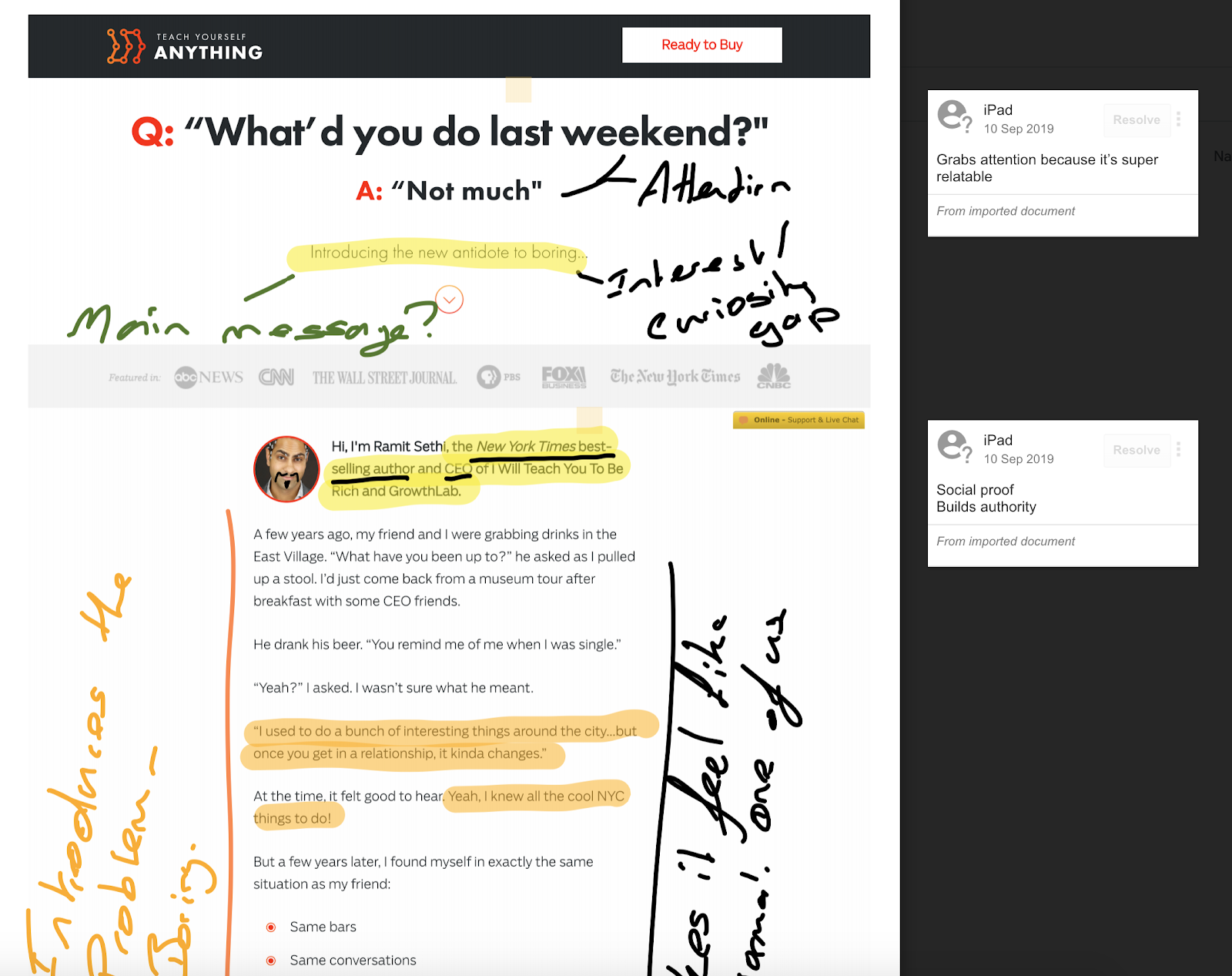 Improve your copywriting by actively analysing existing copy