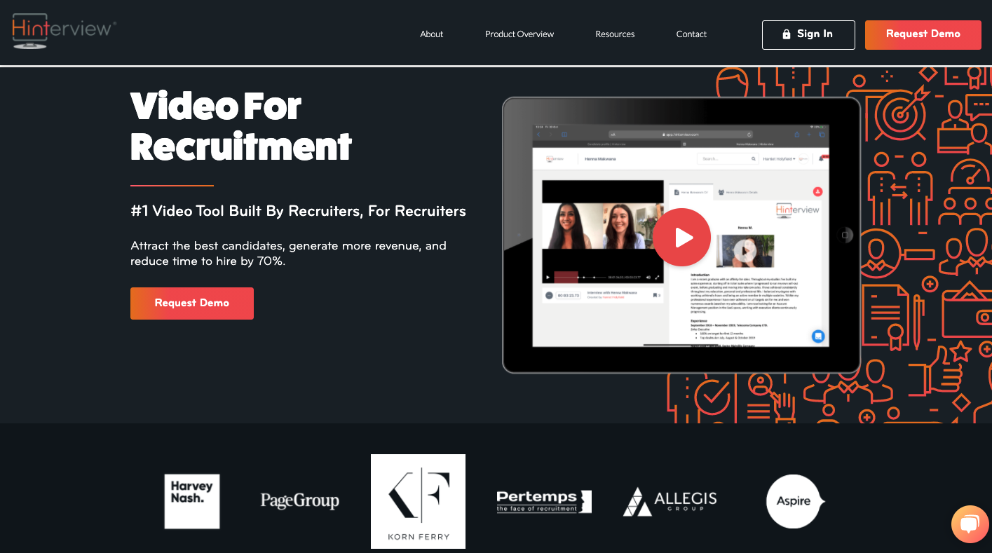 Hinterview is a leading video candidate screening tool for hiring managers and recruiters.