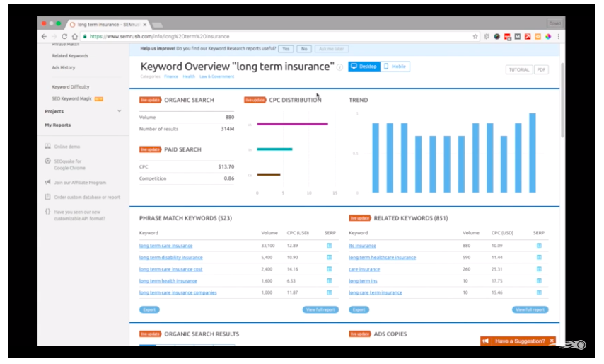 SEMrush keyword research for customer acquisition