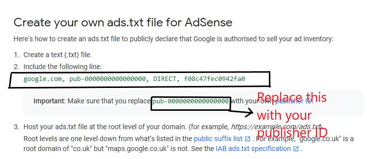 "adsense ""ads.txt"" code"
