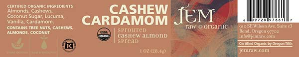 Label, JEM Raw Organic CASHEW CARDAMOM Sprouted Cashew Almond Spread, 1 oz.