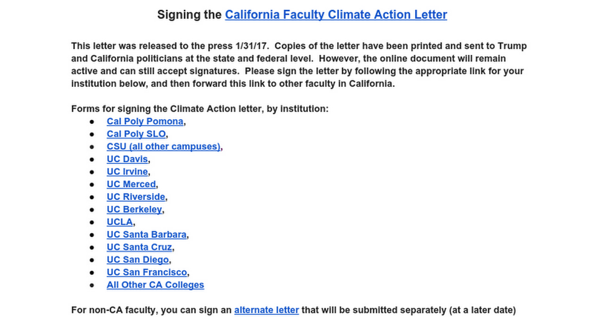 Signing the California Faculty Climate Action Letter