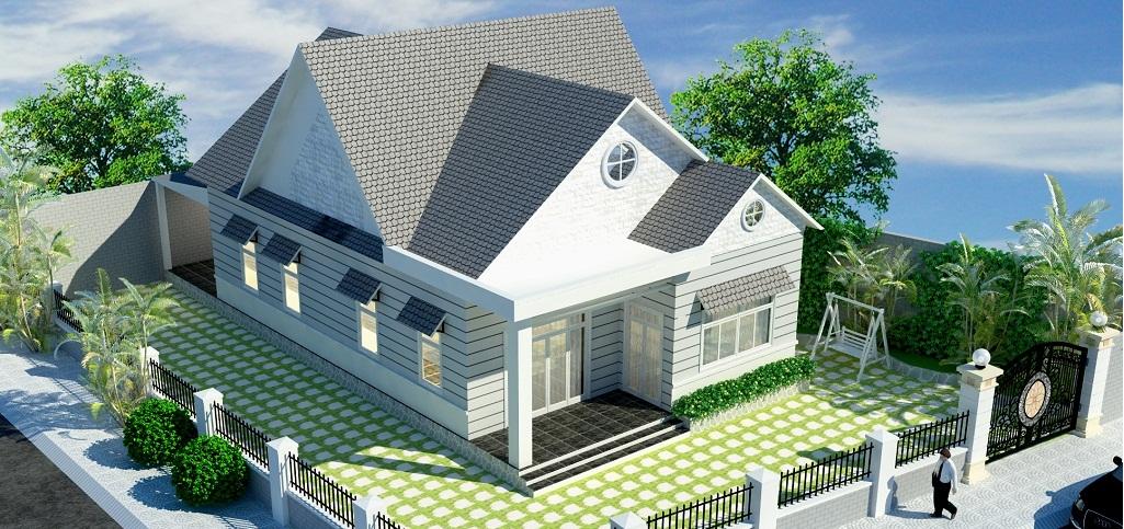Mẫu số 7: mẫu mái nhà lợp ngói đẹp với thiết kế mái ấn tượng