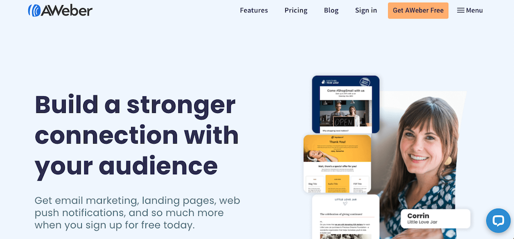 AWeber website home page