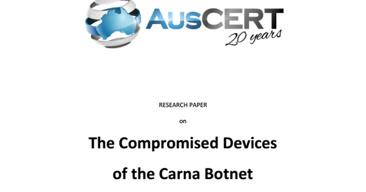 botnet research paper A botnet is a network of computers which are compromised under the influence of bot (malware) code this paper clarifies botnet phenomenon and discusses botnet mechanism, botnet architecture and botnet detection techniques  finally, we discuss the importance of honeypot research to detect the infection vector and dealing with new botnet.