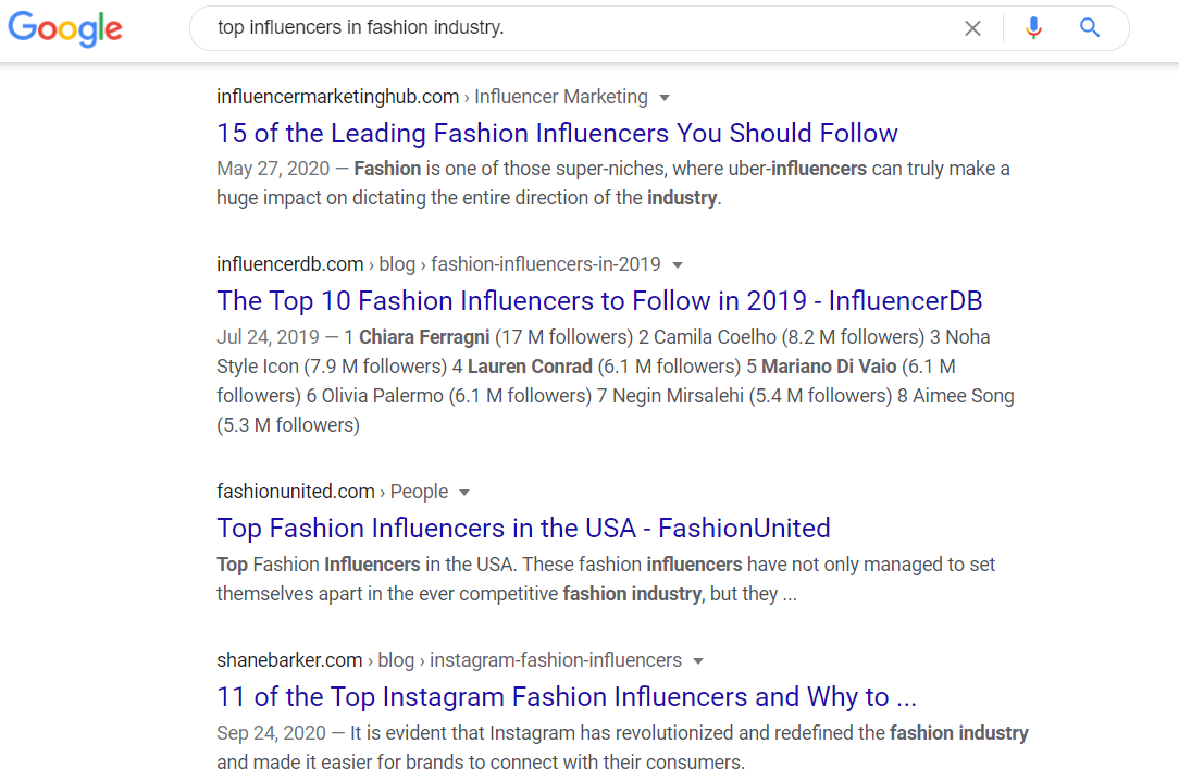 Googling influencers in an industry.