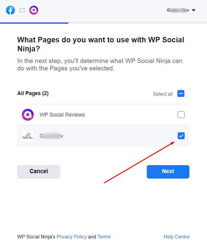 Select page with WP Social Ninja