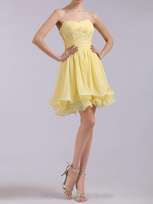 Chiffon Sweetheart Short/Mini A-line Appliques Ball Dresses #PLS02051669