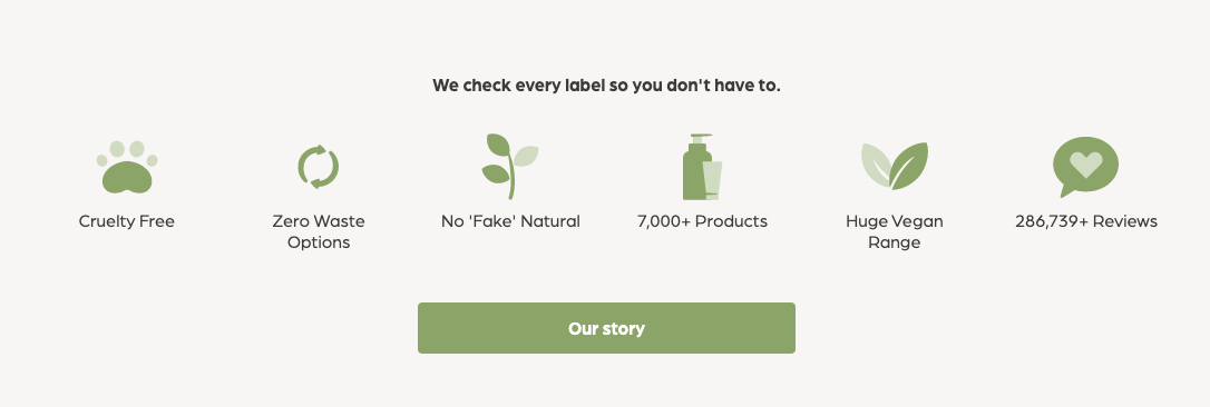 Snapshot of Nourished Life website showing specifications of their products