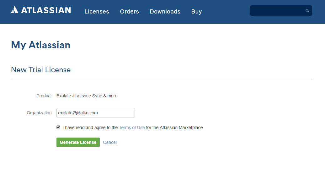 myatlassian new trial license for Jira sync