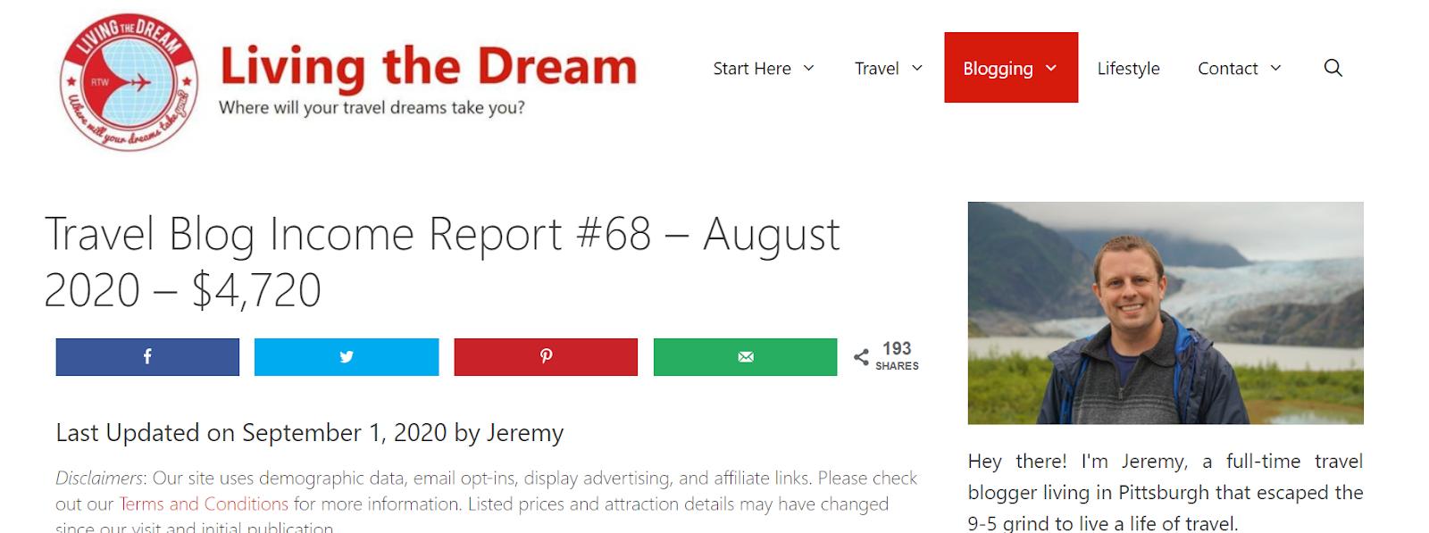 Living the Dream blog example