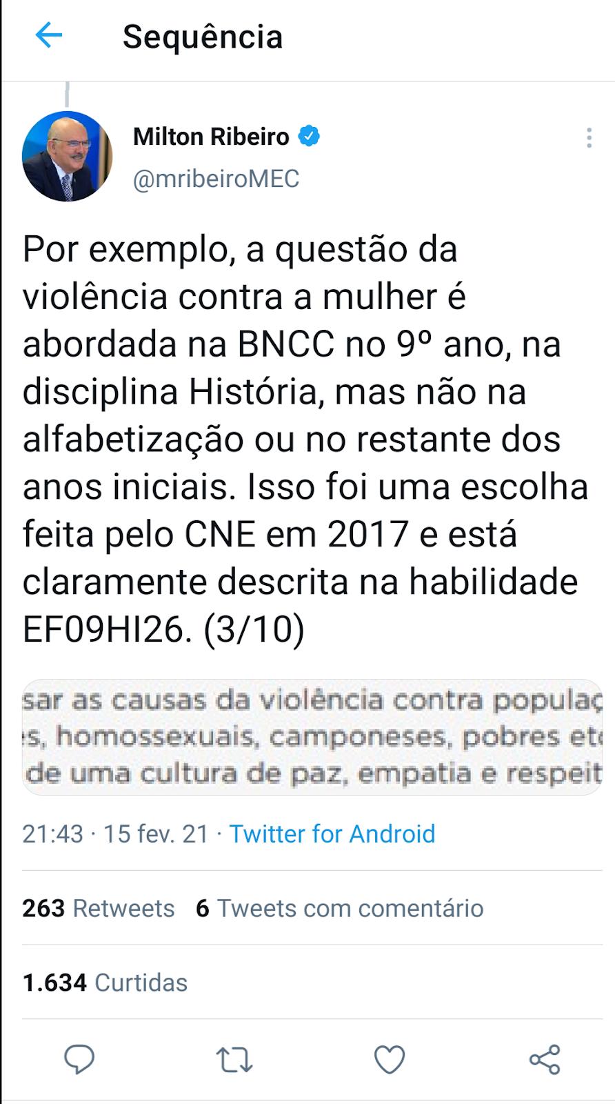 Reprodução do Twitter do Ministro Milton Ribeiro.