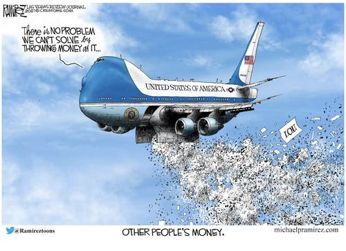 """Charge de @ramireztoons mostra um avião jogando dinheiro com os dizeres: """"UNITED STATES OF AMERICA – There is no problem we can't solve by throwing money at it... other people's money."""""""