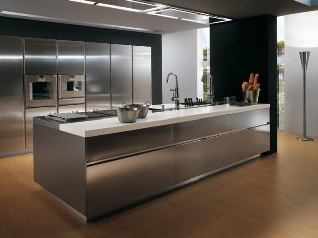 Dapur dengan material stainless steel - sumber: www. architectureartdesigns.com