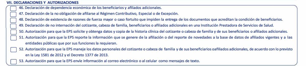 Declaraciones y autorizaciones formularias afiliación salud total