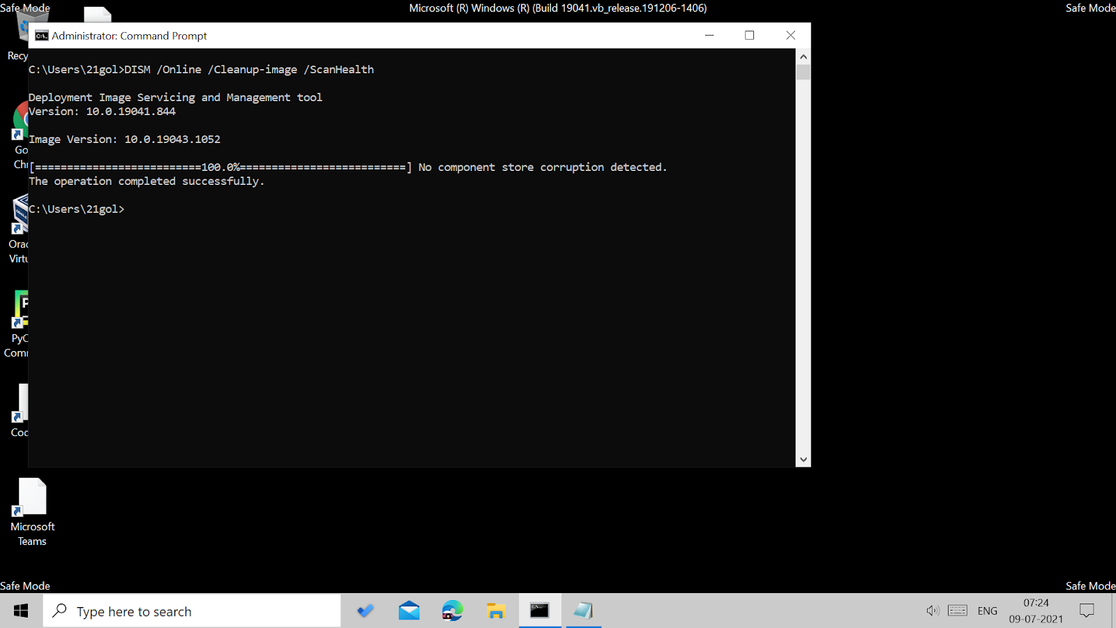 Running DISM scan in the command prompt