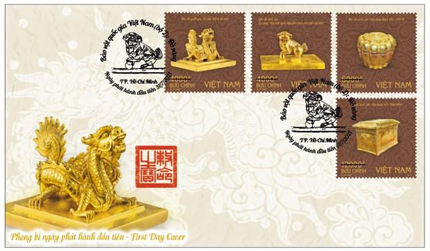 Phát hành bộ tem bảo vật quý về Phật giáo và ấn vàng thời Trần Nguyễn