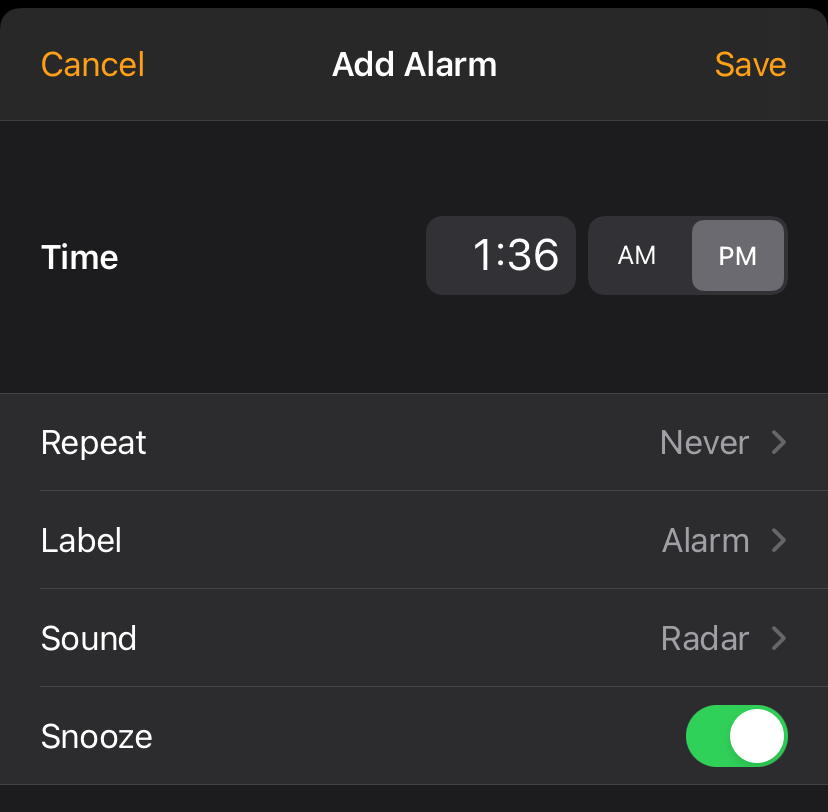 Specify the time when you want to be roused from your slumber.