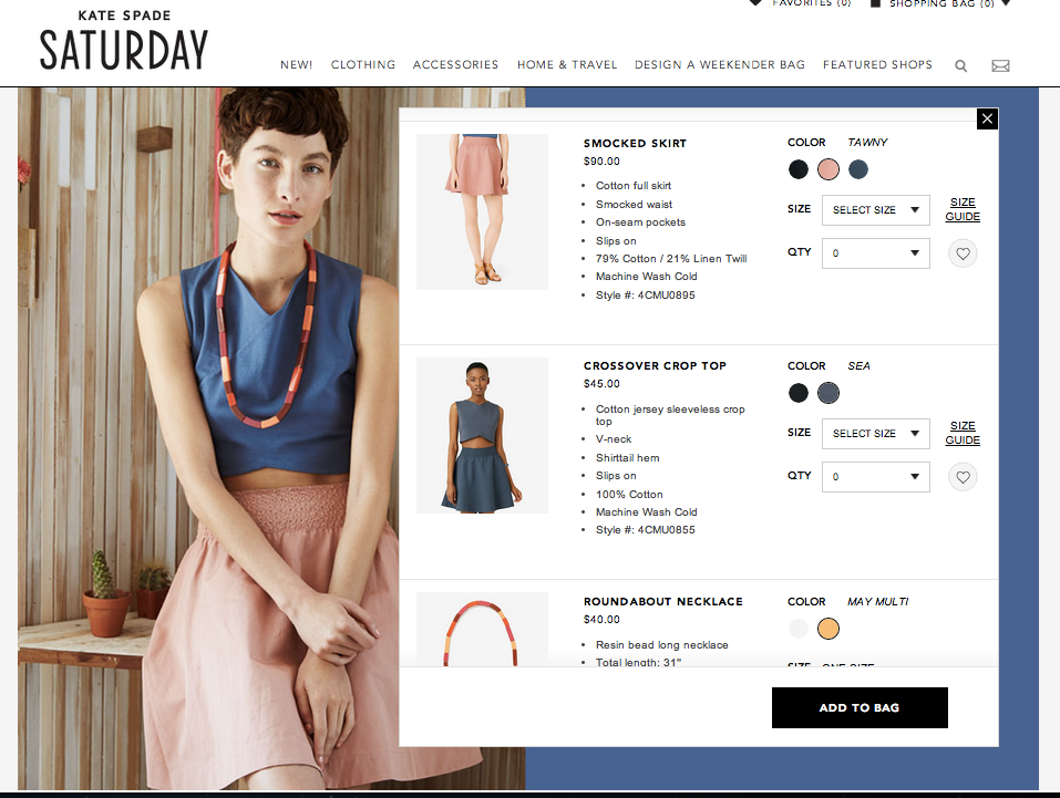kate spade saturday shoppable content