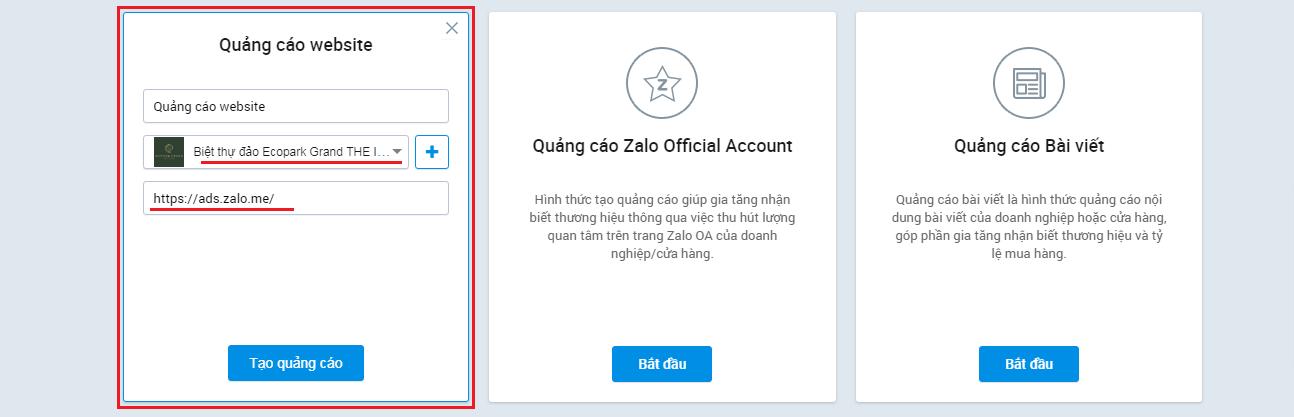 Chọn đúng tài khoản OA cần tạo quảng cáo website trên Zalo