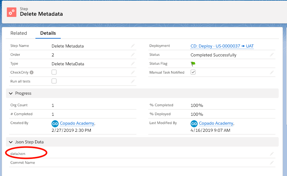 Delete Metadata Step and Test Level in Deployments - Copado