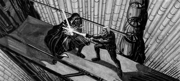 luke fights vader empire story board