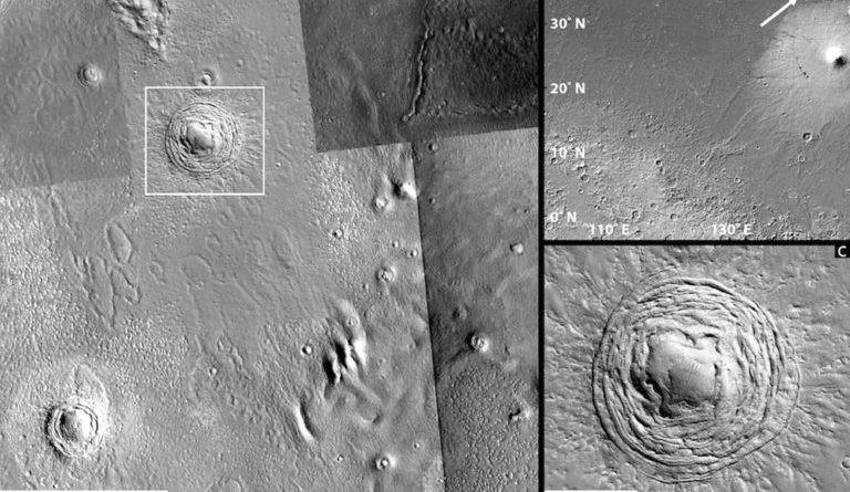 Cấu trúc địa chất dạng lồi, dạng xoắn trôn ốc trên sao Hỏa.