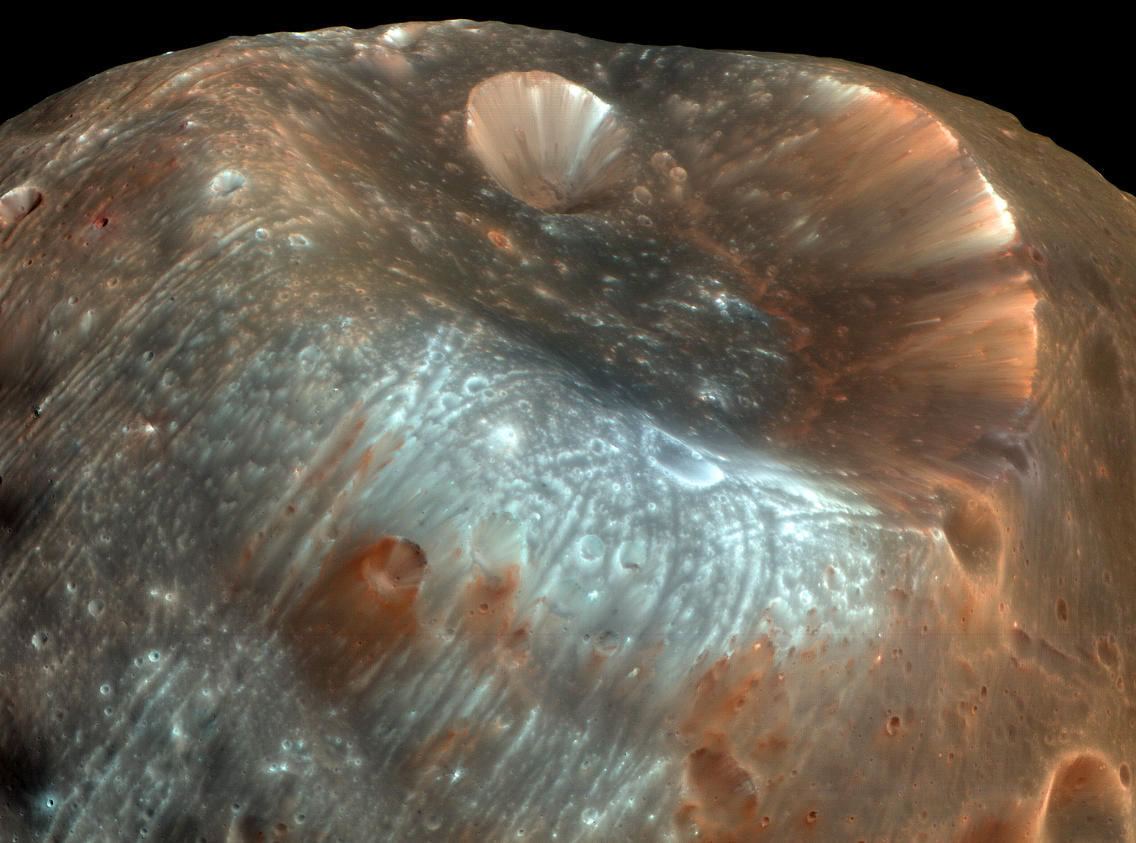 Stickney crater on the surface of Phobos